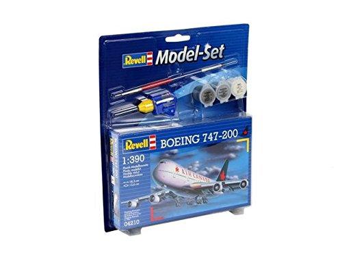 Revell RV64210 Modellbausatz Flugzeug 0.3125 - Boeing 747-200 im Maßstab 1:390, Level 3, originalgetreue Nachbildung mit vielen Details, Zivilflugzeug, Passagierflugzeug, Model Set mit Basiszubehör, 64210