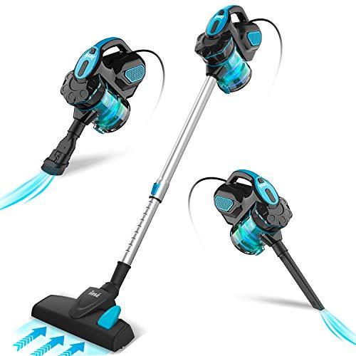 INSE Scopa Elettrica con Filo, Aspirapolvere Senza Sacco, 18 KPA 600 W, con Cavo 6m, 3 in 1, per Pavimenti Duri e Peli di Animali Domestici (Blue)