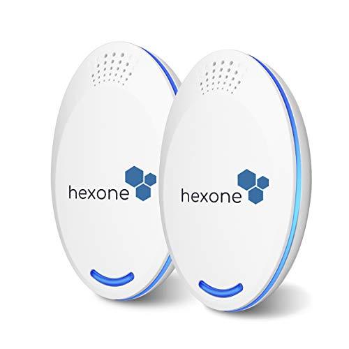 hexone - Lote de 2 repelentes ultrasónicos para ratones y ratones – Tomas repelentes dañinos estéticos electrónicos para interior natural, ecológico, antiroedores, burlete para coche, animales