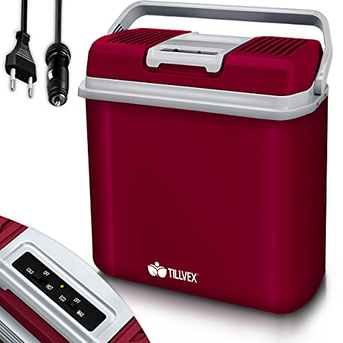 tillvex Kühlbox elektrisch 24L | Mini-Kühlschrank 230 V und 12 V für KFZ Auto Camping | kühlt & wärmt | ECO-Modus (Rot)