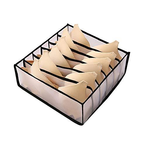 Raburt Household Solid Color Storage Box Folding Socks Bra Underwear Storage Bag Multiple Grids