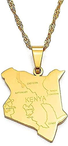 Aluyouqi Co.,ltd Collar Mapa de Kenia Collar y Nombre de la Ciudad Collares Joyas Pendientes Color Oro Mapa de África Kenia Mapa de Joyas Regalos de Kenia
