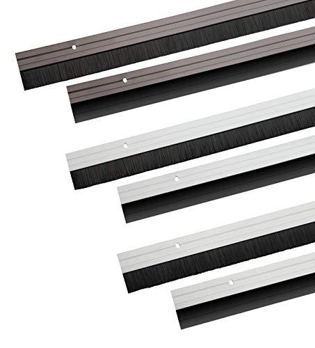 Türbodendichtung Weiß aus Aluminium mit Bürstendichtung zum Schrauben 100cm