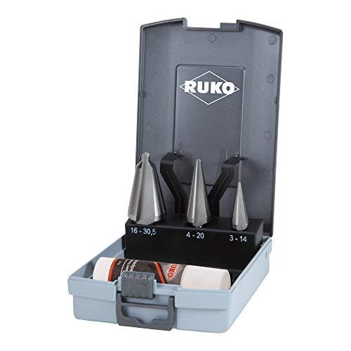 RUKO R101020ERO HSSE-Co Set 5-teilig mit 1 Schneidpaste 30 g in Stahlkassette glänzend 4-teilig R101020ERO