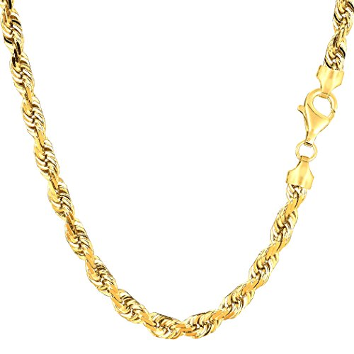 14 K Amarillo Oro sólido corte de diamante Royal cuerda collar de cadena, 5.0 mm