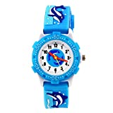 ele ELEOPTION Reloj para Niños Lmpermeable 3D Lindo de Dibujos Animados Redondo de Silicona Banda de Goma Reloj Pulsera de Cuarzo Niñas, Niño (Delfines, Azules)
