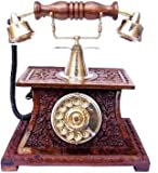 RIZQART WoodenAntique Telephone Corded Landline Phone with Answering Machine-Brown