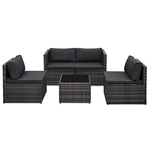 vidaXL Gartenmöbel 5-TLG. mit Auflagen Lounge Sofa Sitzgruppe Garten Garnitur Sitzgarnitur Gartenset Gartensofa Ottomane Tisch Poly Rattan Grau