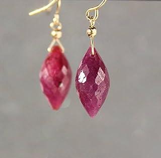 Pendientes de rubí, piedra natal de julio, pendientes de rubí auténtico, aretes de piedras preciosas, pendientes de gota d...