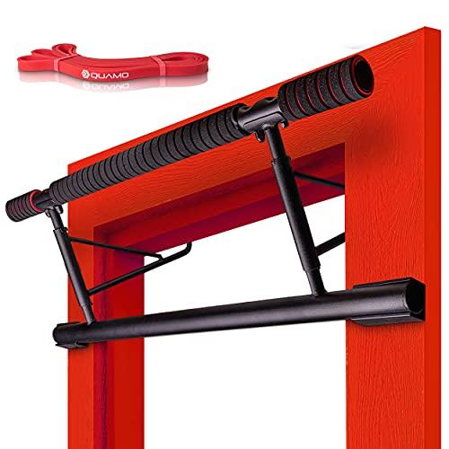 QUAMO® Klimmzugstange ohne Schrauben – bis [200kg] belastbare Pull up Bar - [20cm] höher für mehr Bewegungsfreiheit – Klimmzugstange Türrahmen für Sport & Fitness - inkl. Fitnessband