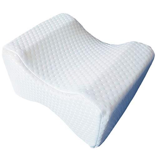 ZoneYan Kniekissen, Kniekissen Orthopädisch, Memory-Schaum Beinkissen für Seitenschläfer, Seitenschläferkissen Knie mit Waschbarem Bezug (Weiß)