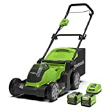 Greenworks G40LM41K2x Cordless Lawn Mower 40V 41cm with 2x 2Ah Battery and Charger