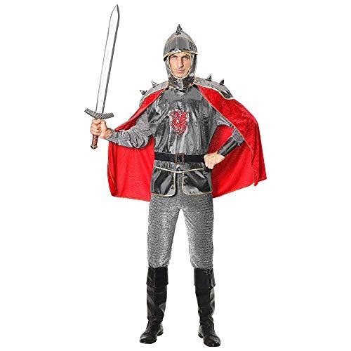 Widmann 02922 02922-Kostüm Ritter, Tunika mit Rüstung und Umhang, Gürtel, Helm, Mittelalter, Mottoparty, Karneval, Herren, Mehrfarbig, M