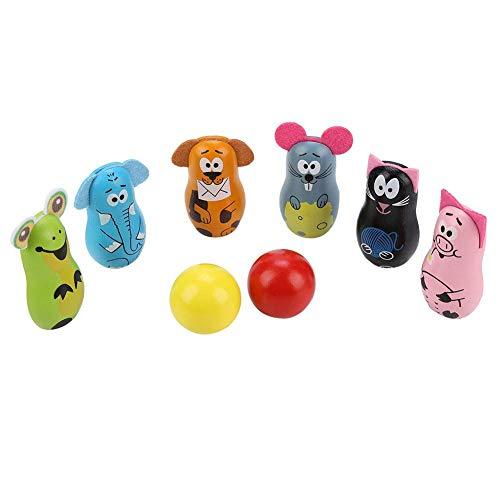 Alomejor Bowlingkugel aus Holz Spielzeug Bowlingset mit 6 Bowlingkegeln und 2 Bowlingkugeln für Kleinkinder und Kinder