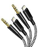 Cable Audio Auxiliar Coche iPhone [2 Pack 1M] MFi Certificado Adaptador Lightning a Cable de Audio Trenzado de Nylon de 3,5 mm,Cable Estéreo Aux para iPhone/iPad/iPod,Car Audio/Altavoz/Auriculares