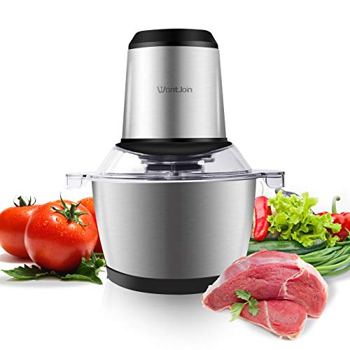 WantJoin Electric Food Chopper 1.2L Stainless Steel Kitchen Food Processor for Meat, Vegetables, Fruits with Stainless Steel Bowl and 4 Sharp Blades (Stainless Steel)