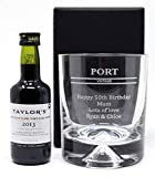 Engraved/Personalised *Port Design* Dimple Glass Tumbler & Miniature Bottle of Port