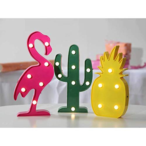 Kamaca Dekoration Miami Flamingo Kaktus Ananas sanftes Licht mit 20 warm weissen LED EIN MUSS für Jede Party FEST Feier (3er Set Flamingo Kaktus Ananas)