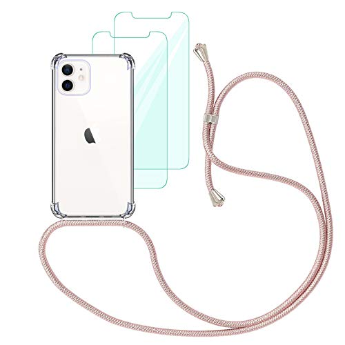 Yohii Funda con Cuerda Compatible con iPhone 12 / iPhone 12 Pro (6.1') y [2 Pack] Cristal Templado Protector de Pantalla, Carcasa Transparente TPU Suave Silicon Colgante Ajustable Collar - Oro Rosa