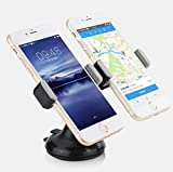 360-Degree Rotatable Dual Windshield Dashboard Mount for Cell Phones, GPS, MP3, and PDA Devices. Perfect for Cars, Golf Carts, Desktops, Airplanes