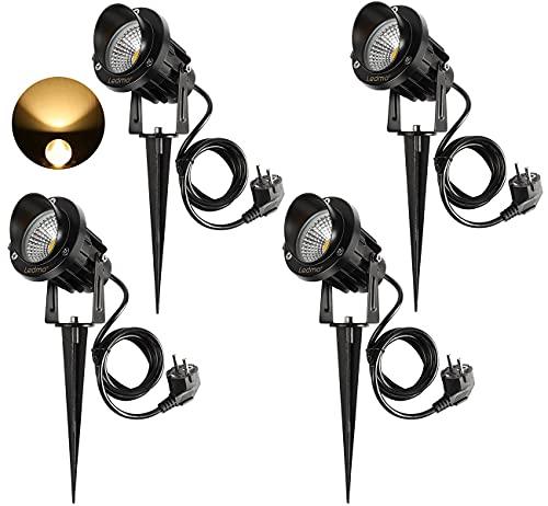 4 Stücke LED Gartenleuchte mit Erdspieß,LED Gartenlampe 9W Warmweiß 3000-3300K 900LM led strahler außen IP65