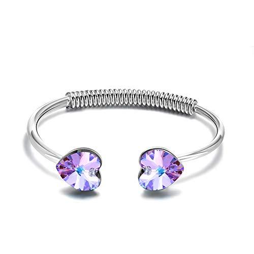 DEQIAODE Liebes-Manschetten-Armreif-Armbänder mit Swarovski-Kristallen Nickelfreier Schmuck für Frauen [Geschenkverpackung] - Geschenk der Liebe, Frauen