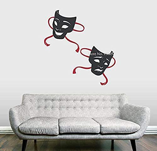 Zykang 3D Wandaufkleber Drama Masken Wandtattoo Maske Dance Party Wasserdichte Dekoration Vinyl Wandaufkleber Wohnkultur Wohnzimmer Kreative Aufkleber 58X61 Cm