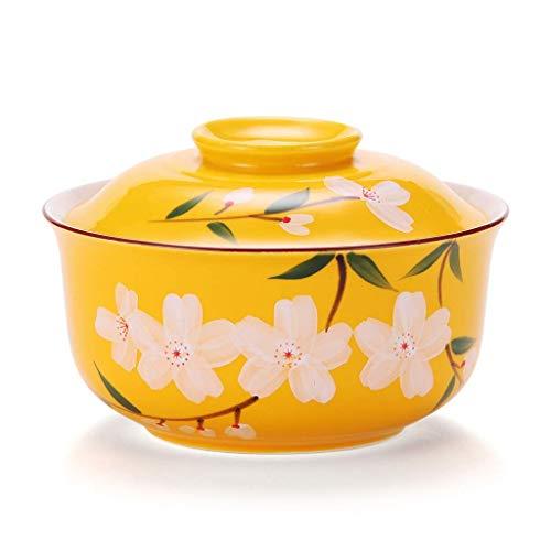 Suministros de restaurante De estilo japonés de cerámica Ramen Bol con ensalada tapa linda pintada a mano instantánea cereza Noodle Bowl 6,5 pulgadas desayuno Soup Bowl 700 ml Cuenco retro vajilla (Co