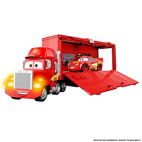 Disney Pixar Cars Track Talkers Mack, Lightning McQueen's Hauler, Lights and Sounds Car Carrier, Gift for Kids Ages 3 Years Old and Up