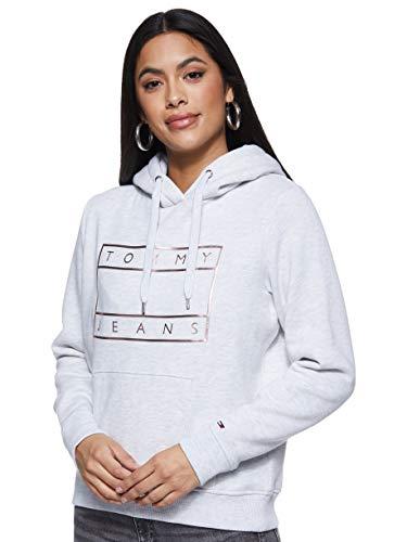 Tommy Jeans Damen Tjw Essential Logo Hoodie Strickjacke, Grau (Grey PPP), 40 (Herstellergröße: X-Large)