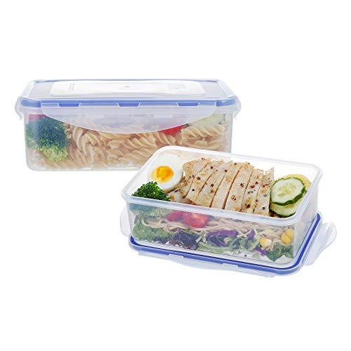 2 Pack Plastic Food Storage Containers BPA-Free Food Containers Sets with Lids Meal Prep Container Airtight Food Containers for Kitchen 389oz1150ml47cup