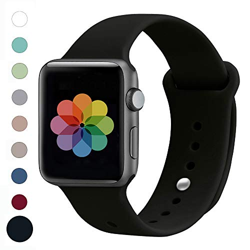 UPOLS Compatible with Apple Watch Band 38mm 42mm, Black, Size 42mm(44mm) S/M