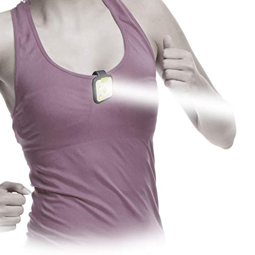 Clip-on LED Runners Light with large clip for running, jogging, walking, dog collar, camping and BBQ. Wearable Hands free flashlight. rechargeable, clip-on, Safer to be seen