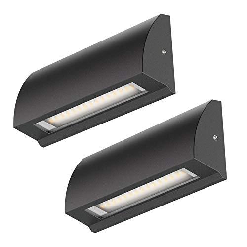 ledscom.de LED Wand-Lampe Segin Treppenlicht für innen und außen, flach, Aufbau, schwarz, warm-weiß, 190lm, 2 Stk.