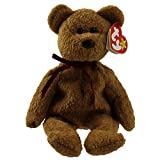 TY Beanie Babies Curly Bear Stuffed Animal Plush Toy - 8 1/2 inches tall - Brown with Maroon Ribbon