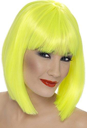 Smiffys Perruque glam, jaune fluo, cheveux courts, dégradés avec frange Taille Unique