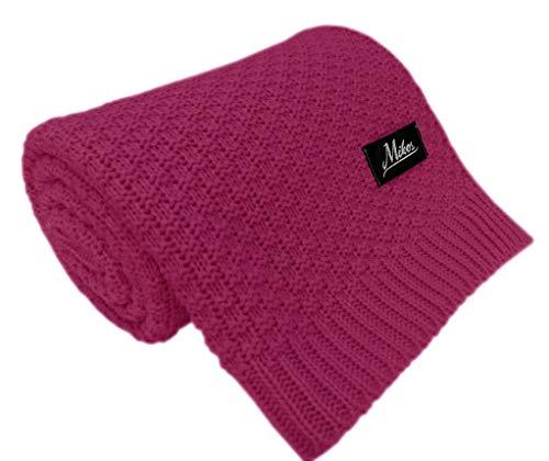 Baby Strickdecke Kuschelige Decke ideal als Baby Decke, Erstlingsdecke, Wolldecke oder Baby Kuscheldecke 80x100 I 100x120 (1033) (Violet, 100x120)