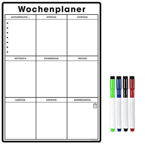 Der Magnet Shop Magnetischer A3 Wochenplaner/Organisator - Anpassbares Whiteboard zum Verwalten von Aufgaben, für Aufgabenlisten, Einkäufe, Mahlzeitenplanung. für Zuhause, Büro, Schule