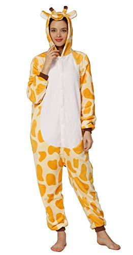 Yimidear® Unisex Cálido Pijamas para Adultos Cosplay Animales de Vestuario Ropa de Dormir Halloween y Navidad(S, Jirafa)