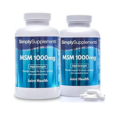MSM Tablets 1000mg | Super High Strength Formula | 360 Tablets = 6 Month Supply | Wheat-Free, Fish-Free | Suitable for Vegetarians