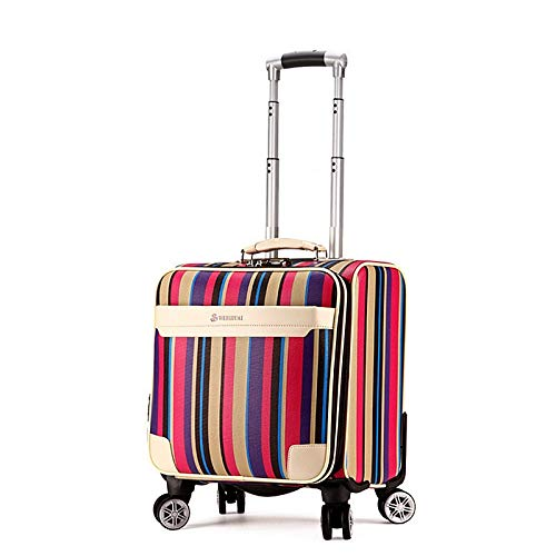 QFSZWX 16 inch Travel Suitcase Women Trolley Travel Bags Spinner Wheels Student Rolling Luggage Boarding Travel Luggage (Color : Pink)