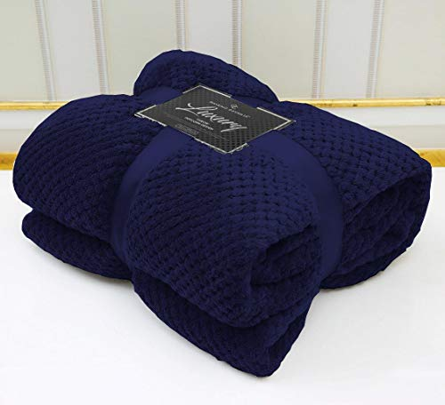 LJ Popcorn Waffle Style Luxurious Throws Super Soft Warm Cosy Sofa and Bed Fleece Blankets (Navy, Double -150x200cms)