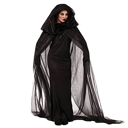 Halloween Black Costume for Women, Adult Ghost Bride Dress Cosplay Witch Costume, Vampire Witch Cosplay Cloak
