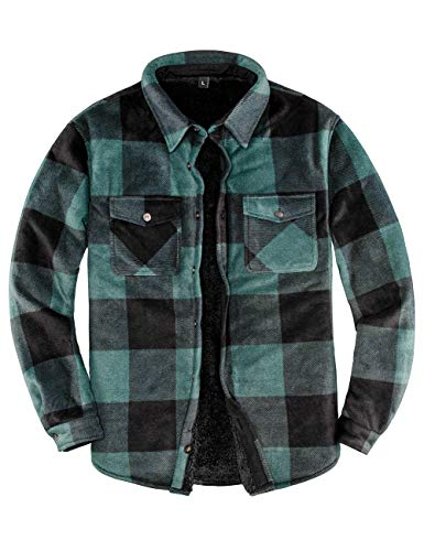 Men's Sherpa Fleece Lined Flannel Shirt for Men Warm Brushed Plaid Shirt Jacket(All Sherpa Fleece Lined) Green L