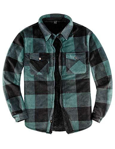 Men's Sherpa Fleece Lined Flannel Shirt for Men Warm Brushed Plaid Shirt Jacket(All Sherpa Fleece Lined) Green M