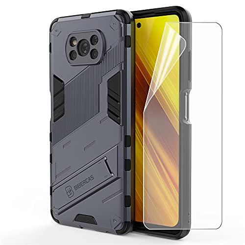 ZZHAO Armor Carcasa para Xiaomi Poco X3 NFC Funda con Uno [Cobertura Completa] Protector de Pantalla, PC/TPU Ultradelgado Estuche Anti Caída Bumper Back Case Cover con Soporte Integrado Invisible