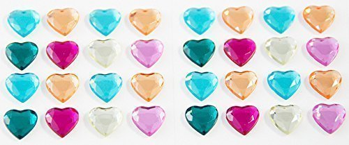 Smoobee Hearts Beautiful Gem Stickers for No Cry Hairbrush - 32 pieces