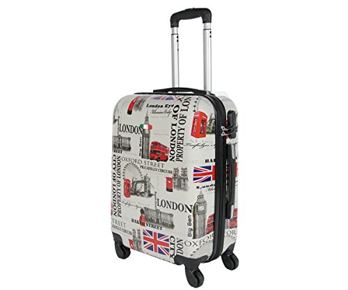 Trolley da cabina 50 cm valigia rigida 4 ruote in abs policarbonato stampato a fantasia antigraffio e impermeabile compatibile voli lowcost come Easyjet Rayanair art London