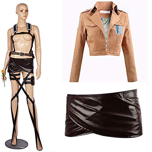 hengGuKeJiYo Nuevo Titan Cosplay Attack Shingeki no Kyojin Mikasa Ackerman Cosplay Traje Chal Cinturón Traje Pantalones Cortos de Cuero Conjuntos completos