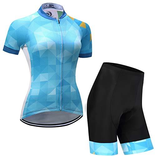 ZEMER Maillot Ciclismo Mujer Cclismo Conjunto De Ropa + Culote Pantalones Acolchado...